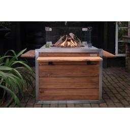 Happy Cocooning Teak Stainless Steel Fireplace