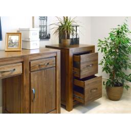 Mayan Walnut Two Drawer Filing Cabinet