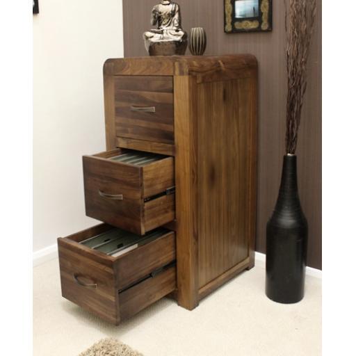 Shiro Walnut 3 Drawer Filing Cabinet