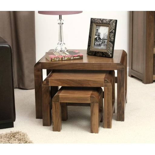 Shiro Walnut Nest of 3 Coffee Tables