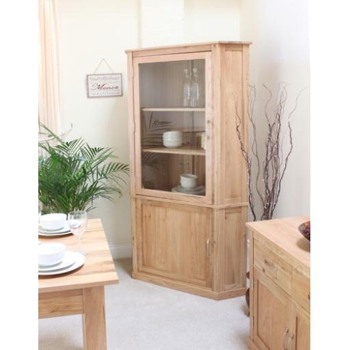Mobel Oak Large Corner Display Cabinet