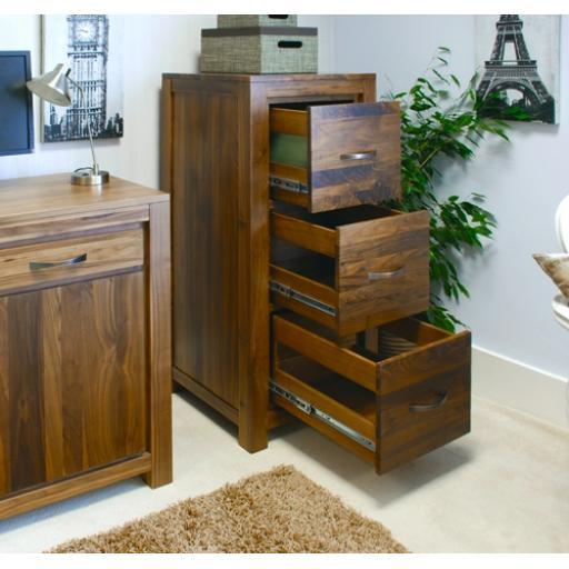Mayan Walnut 3 Drawer Filing Cabinet