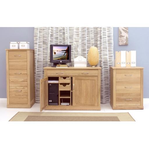 Mobel Oak Hidden Home Office Computer Desk