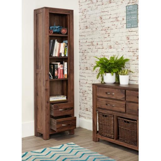 Mayan Walnut Narrow Bookcase