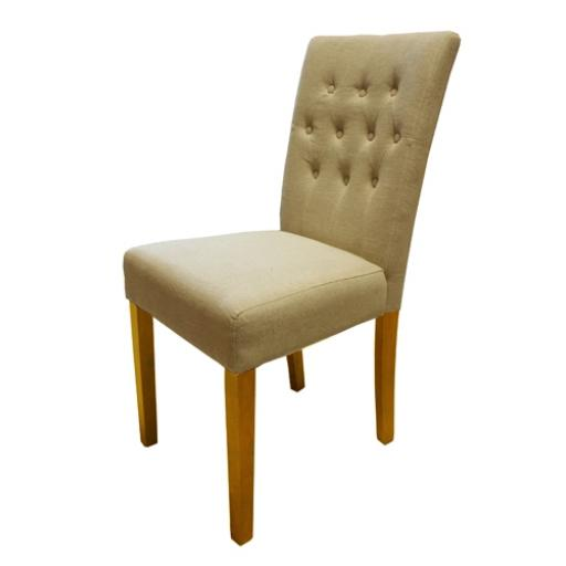 Dining Chair Flare Back Biscuit Upholstered