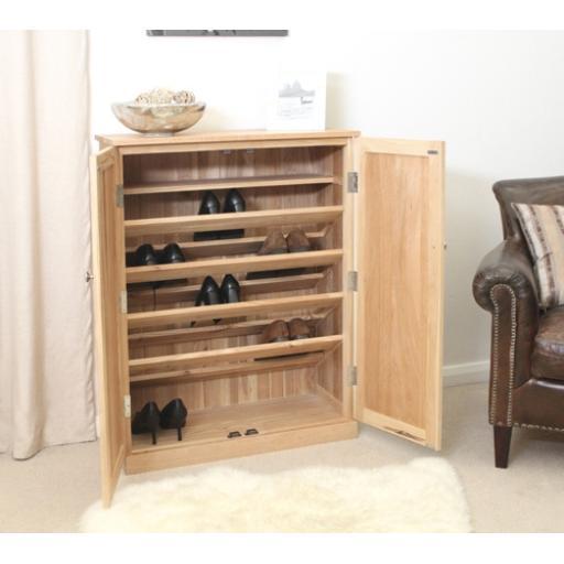 Mobel Oak Large Shoe Cupboard