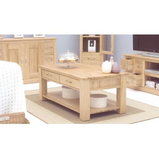 Mobel Oak Four Drawer Coffee Table