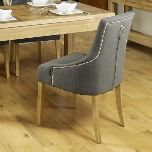 Dining Chair Oak Accent Upholstered - Stone Pack Of Two