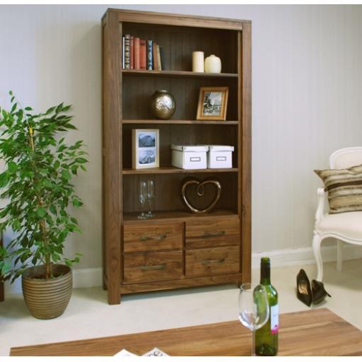Mayan Walnut Large 4 Drawer Bookcase